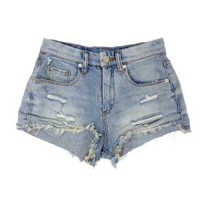 Blank NYC Wedge Cut Off Distressed Denim Shorts